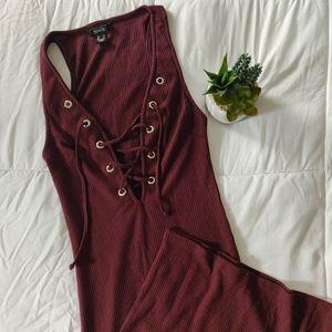 3/$20 BURGUNDY RIBBED MAXI DRESS